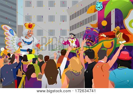 A vector illustration of People Celebrating Mardi Gras Festival