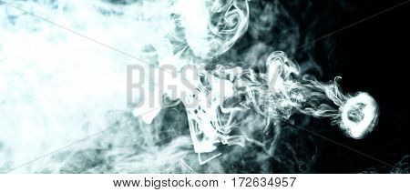 Vape Trick Smoke Ring On Dark Background