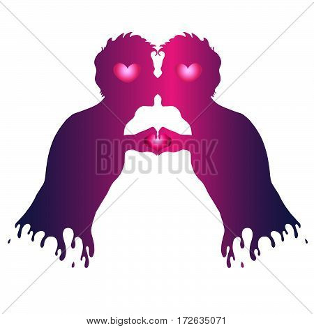 Vector hand drawn love kissing couple of boys gay. Two human hands gesture representing the heart shape. Colorful silhouette of a loving couple on Valentine's Day