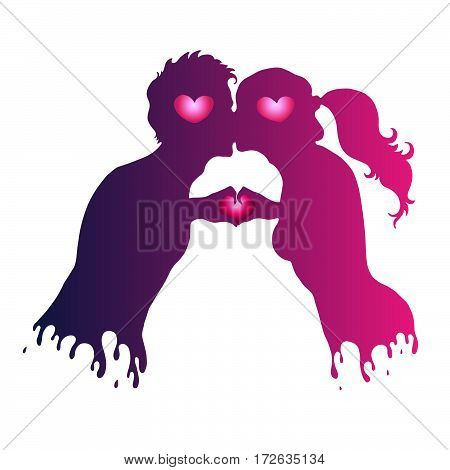 Vector hand drawn love kissing couple girl and the guy. Two human hands gesture representing the heart shape. Colorful silhouette of a loving couple on Valentine's Day