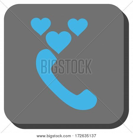 Love Phone Call interface toolbar button. Vector pictogram style is a flat symbol centered in a rounded square button light blue and gray colors.
