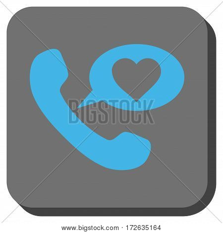 Love Phone Message interface toolbar icon. Vector pictograph style is a flat symbol in a rounded square button light blue and gray colors.