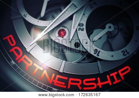 Luxury Men Watch with Partnership Inscription on Face. Partnership on the Old Pocket Watch, Chronograph Close Up. Time and Work Concept with Glowing Light Effect. 3D Rendering.