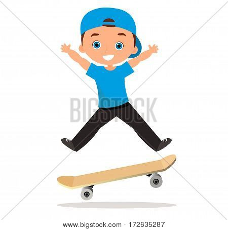 Young man skateboarding. Cartoon boy skater riding a skateboard and doing a skateboard trick. Flat design. Vector illustration eps 10