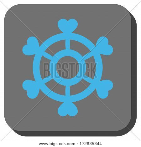 Lovely Boat Steering Wheel toolbar button. Vector pictograph style is a flat symbol in a rounded square button light blue and gray colors.