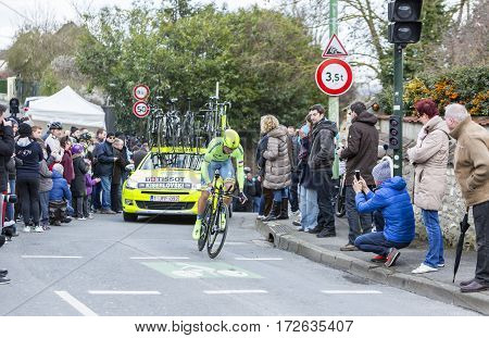 Conflans-Sainte-HonorineFrance-March 62016: The Croatian cyclist Robert Kiserlovski of Tinkoff Team riding during the prologue stage of Paris-Nice 2016.