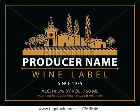 vector labels for wine with village with a vineyard in black and gold