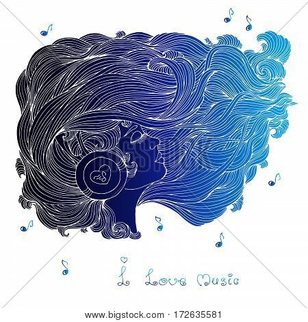 Vector painted colors blue portrait in profile of a girl with long wavy hair. Girl with closed eyes listening to music in headphones. Phrase I love music. Icon of musical notes.