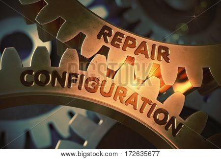 Repair Configuration on Mechanism of Golden Metallic Cog Gears. Repair Configuration on Mechanism of Golden Metallic Gears with Glow Effect. 3D Rendering.
