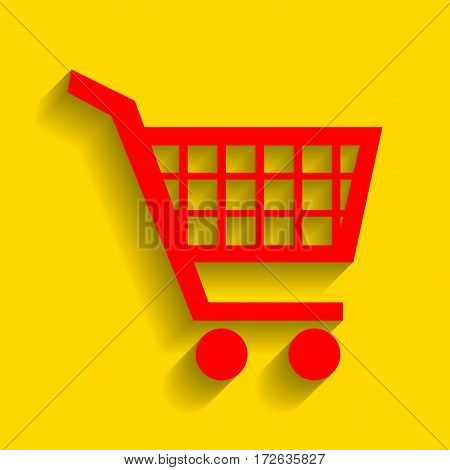 Shopping cart sign. Vector. Red icon with soft shadow on golden background.