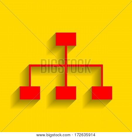 Site map sign. Vector. Red icon with soft shadow on golden background.
