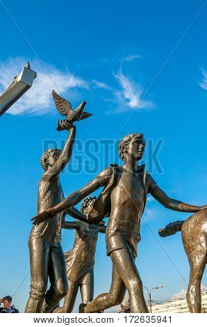 SAINT PETERSBURG RUSSIA-OCTOBER 3 2016. Sculpture Running children near the Pioneer metro station in Saint Petersburg Russia. Saint Petersburg Russia landmark