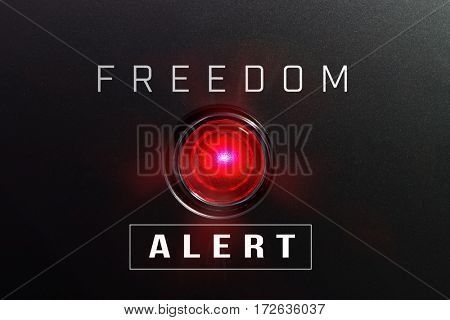Red glowing warning lamp or button black panel with the words,