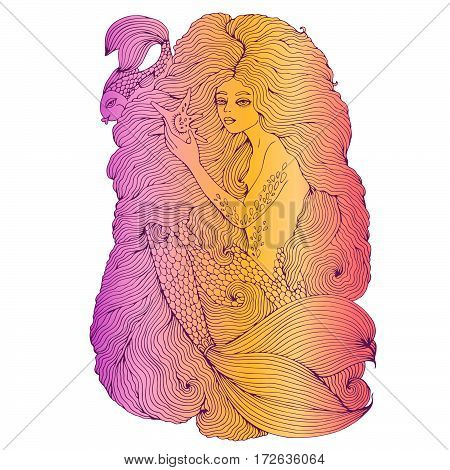 Vector drawing colorful pastel sea mermaid, with long wavy hair holding a seashell. Ornamental decorated graphic illustration of a mermaid tattoo. Mermaid sea nymph. Fairy tale characters.