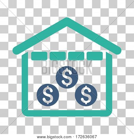 Money Depository icon. Vector illustration style is flat iconic bicolor symbol cobalt and cyan colors transparent background. Designed for web and software interfaces.
