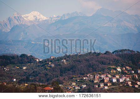 Northern Italian Liguria Region. La Spezia Province Panorama with Mountains.