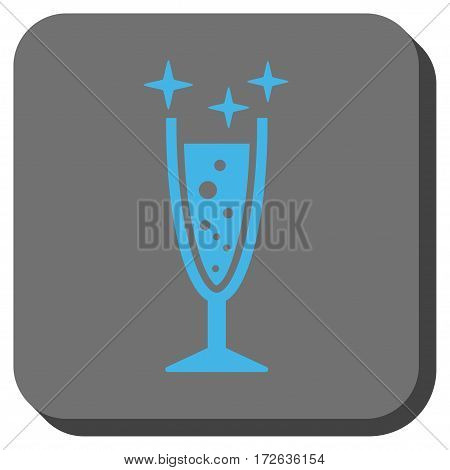 Sparkle Wine Glass interface toolbar button. Vector pictogram style is a flat symbol centered in a rounded square button light blue and gray colors.