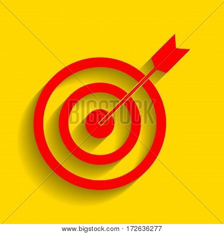 Target with dart. Vector. Red icon with soft shadow on golden background.