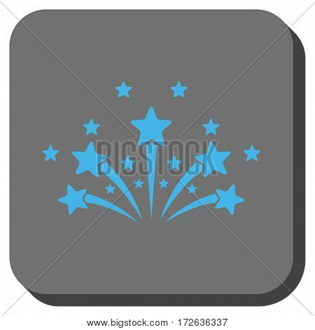 Star Fireworks toolbar icon. Vector pictograph style is a flat symbol centered in a rounded square button light blue and gray colors.