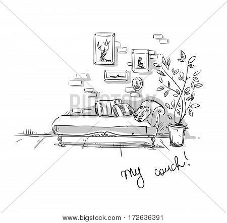 Comfortable couch drawing, vector illustration, interior design