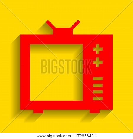 TV sign illustration. Vector. Red icon with soft shadow on golden background.