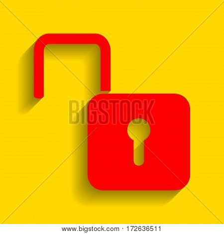 Unlock sign illustration. Vector. Red icon with soft shadow on golden background.