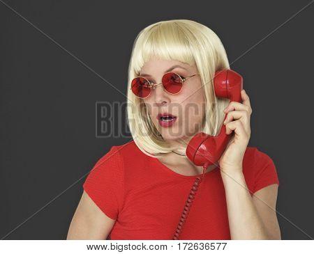 Caucasian Blonde Woman Answering Phone
