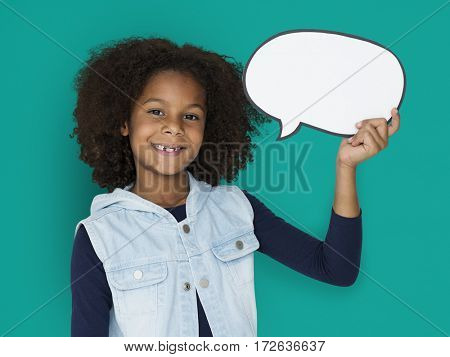 Girl holding papercraft speech bubble chatbox