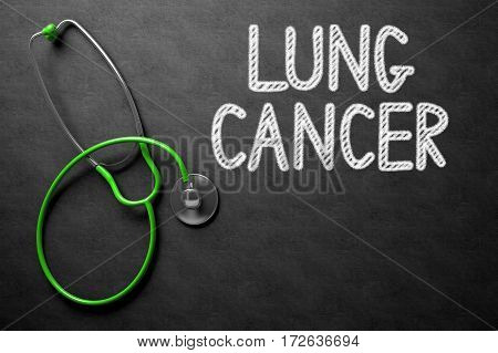 Medical Concept: Lung Cancer - Medical Concept on Black Chalkboard. Medical Concept: Black Chalkboard with Lung Cancer. 3D Rendering.