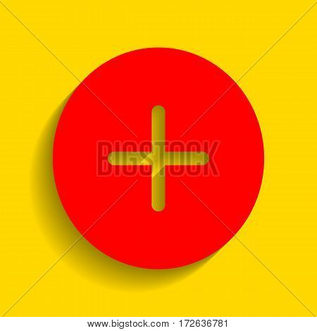 Positive symbol plus sign. Vector. Red icon with soft shadow on golden background.
