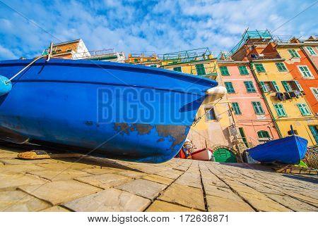 Fishing Boat in Riomaggiore La Spezia Province Italy. Mediterranean Sea Fishing.