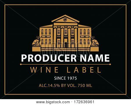 vector labels for wine with urban landscape and castle in black and gold