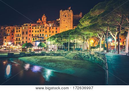 Famous Italian Riviera Porto Venere Night Scenery. Portovenere Illumination. La Spezia Liguria Italy. Part of The Cinque Terre.