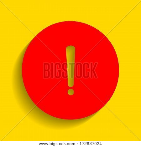 Exclamation mark sign. Vector. Red icon with soft shadow on golden background.