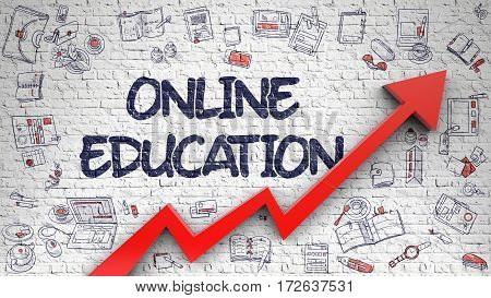 Online Education - Success Concept. Inscription on the White Brickwall with Doodle Design Icons Around. Online Education Drawn on White Brickwall. Illustration with Hand Drawn Icons.