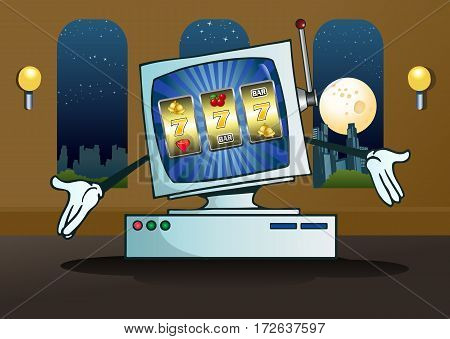 illustration of a on-line jackpot slot machine for gambling game concept on computer