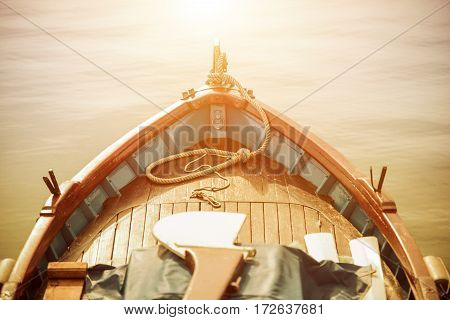 The Boat and the Sea. Wooden Fishing Boat. Fishing Time.