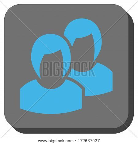 Women toolbar button. Vector pictograph style is a flat symbol centered in a rounded square button light blue and gray colors.
