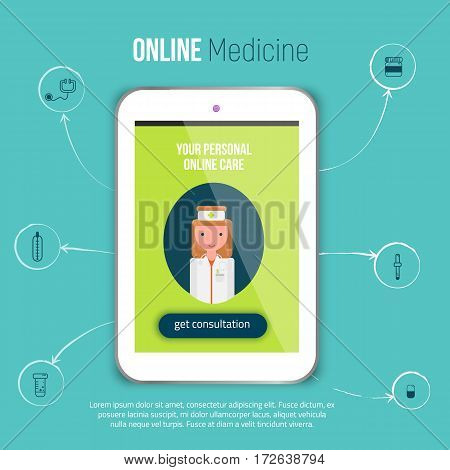 Online medical consultation concept vector illustration, application in flat style.