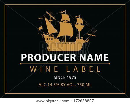 vector labels for wine with sailing ship in black and gold