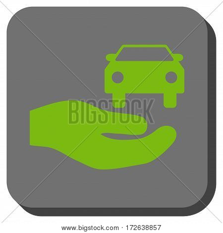 Car Gift Hand interface toolbar button. Vector pictogram style is a flat symbol centered in a rounded square button light green and gray colors.
