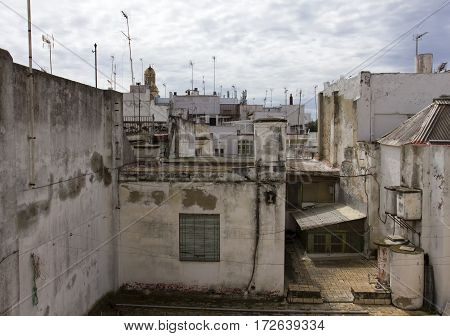 View of the roofs and terrace of Cadiz