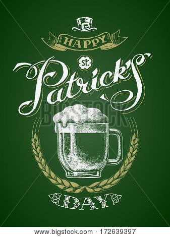 St. Patricks Day. Glass beer mug with barley wreath. Chalk drawing. Eps8. RGB. Global colors. All elements are grouped separately