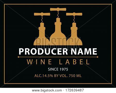 vector labels for wine with bottles and corkscrew in black and gold