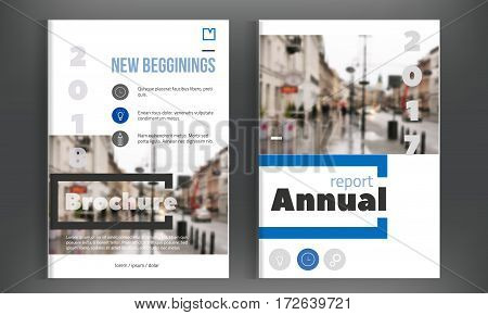 Blue annual report design. Leaflet Brochure Flyer template. design. Simple book cover layout., presentation