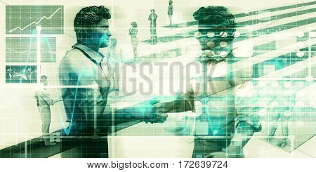 Closing a Deal or Beginning a Business Agreement 3D Illustration Render