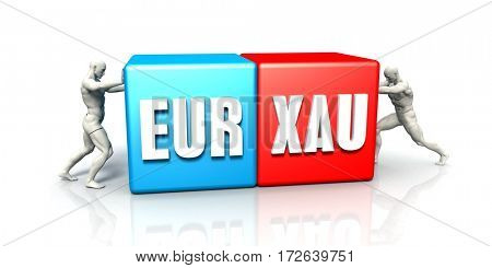 EUR XAU Currency Pair Fighting in Blue Red and White Background 3D Illustration Render