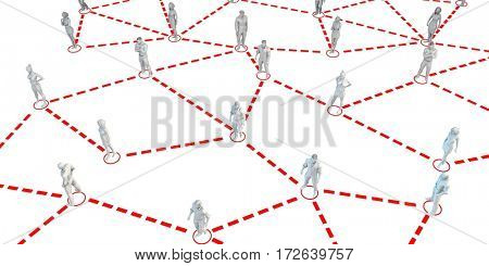 Human figures Connected Together in Communication Social Media 3D Illustration Render