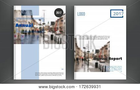 Vector brochure cover template with blurred city landscape. Business brochure cover design, flyer brochure cover, professional corporate brochure cover