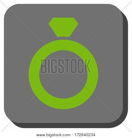 Diamond Ring square button. Vector pictograph style is a flat symbol inside a rounded square button light green and gray colors.